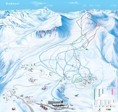 Gudauri Panoram 2012, presented all ski trails, Hotels, restaurants and in the general all infrastructure of Gudauri - (Ski resort in Georgia)